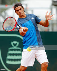 Sparring Federico Coria of Argentina takes a forehand shot during a... Foto  di attualità - Getty Images