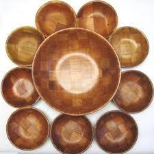vintage 10 piece wood salad bowl serving set 1 large 9 small dis