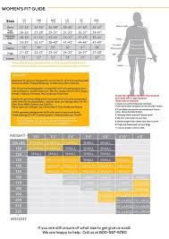 Standard Fit Size Chart Sizing Information Womens Size Chart Size Chart Women