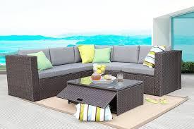 baner garden k35 ch 4 pieces outdoor furniture complete patio cushion wicker rattan garden corner sofa couch set