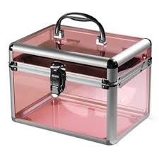 china pink fashion aluminum acrylic display box storage makeup nail kit