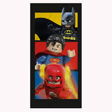 LEGO DC COMICS LARGE TOWEL BATMAN SUPERMAN FLASH SUPERHEROES