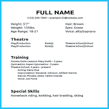 Musical Theater Resume Template Delectable Musical Theatre Resume Swarnimabharathorg