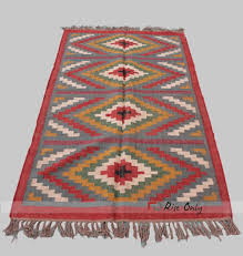 indian quality cotton ribbed bedside runner mat