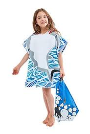 Mermaid Tokyot Kids Hooded Beach Towel Bath Poncho Shark Lightweight Water Repellent String Bag Set blue Shark Mojosavingscom Tokyot Kids Hooded Beach Towel Bath Poncho Shark Lightweight Water