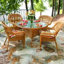 tortuga outdoor portside 5 piece tan wood frame wicker patio dining set with eastbay pompeii