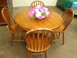 solid wood round oak dining table w4 chairs houston