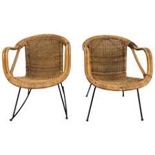 modern wicker chair. pair of mid-century modern wicker and iron lounge chairs, garden or patio chair c