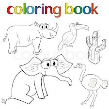 set of s for coloring book with rhino toucan elephant and ostrich and ly cactus cartoon vector ilration stock vector colourbox
