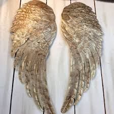 Bronze Wall Decor Large Metal Angel Wings Wall Decor Distressed Gold Ivory