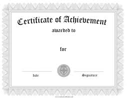 blank certificate of achievement template template blank certificate of achievement template