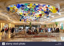 the lobby at the bellagio hotel las vegas usa stock image