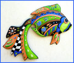 on fish metal wall art hanging with outdoor metal wall art tropical fish metal wall hanging