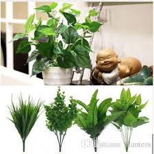 2019 artificial plants outdoor fake leaf foliage bush home office garden decor artificial leaves wedding decoration drop from planters