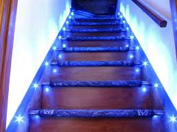 in stair lighting. Blue LED Stair Lighting Interior For Modern Home Design In