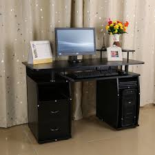 wooden computer desk basic home office table workstation black wood pc laptop basic home office