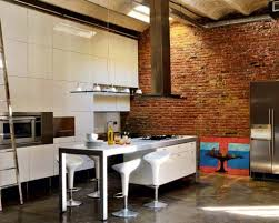 Kitchen Accent Wall Amazing Modern Industrial Kitchen Design With Brick Accent Wall