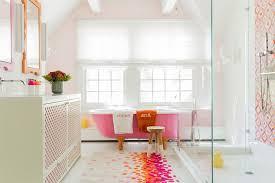 southwestern bathroom rugs transitional bathroom also area rug bright colors feminine framed wall mirror fun monogram