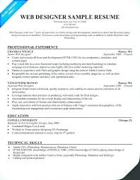 Photoshop Designer Resume Resume Example Web Designer Resume Sample
