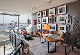 home office interior design. Industrial Home Office Uses Red In An Ingenious And Sporadic Fashion [ Design: Décoria Interior Design