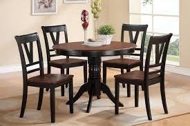 poundex f2385 1343 5 pc viola iii black finish wood legs and cherry finish wood 42 round dining table set