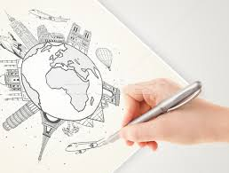 stock photo hand drawing vacation trip around the globe with landmarkajor cities
