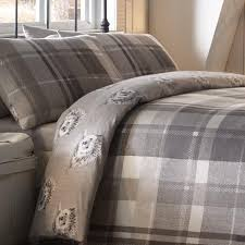 covers colville check grey flannelette duvet covers 000 000