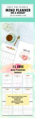 Meal Budget Planner Free Meal Planner Printable 15 Menu Budgeting Tookit