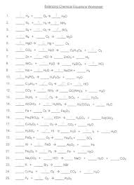 balanced chemical equations worksheet writing and balancing practice complete answers chemistry types chemfiestacom