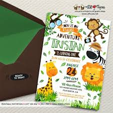 Jungle Theme Birthday Invitations Safari Invites Safari Birthday Invitations Jungle Theme