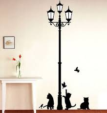 Small Picture Shipping Popular Ancient Lamp Cats and Birds Wall Sticker Wall