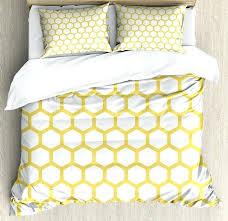 yellow super king duvet cover and white set hexagonal pattern honeycomb beehive simplistic geometrical monochrom