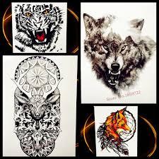 лесной волк водонепроницаемый временные татуировки с черными