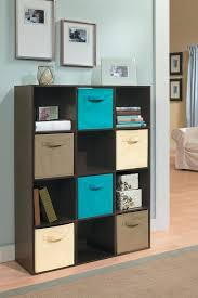 closetmaid cubeicals 9 cube organizer espresso cube organizer in espresso with fabric drawers in ocean blue