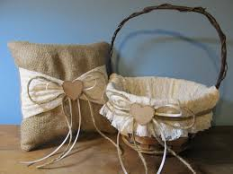 Decorating With Burlap Rustic Flower Girl Basket And Ring Bearer Pillow Burlap And