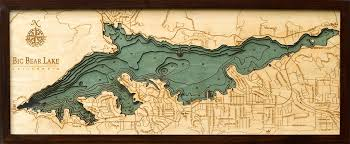White Lake Ontario Depth Chart Big Bear Lake 3 D Nautical Wood Chart 13 5 X 31