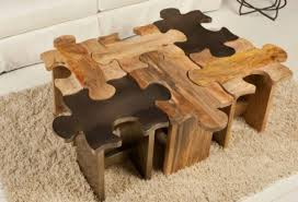 Another Creative Wooden Table Which Has Six Pieces Of Puzzles Each Piece  Is A Stool Or Individual Small Chair When Separated Link Spicytec