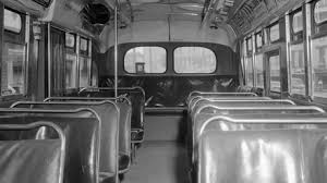 the civil rights movement top an interior view of a montgomery city transit bus is seen here it s