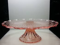 vintage pink depression glass 12 diameter 3 1 2 tall medium cake stand