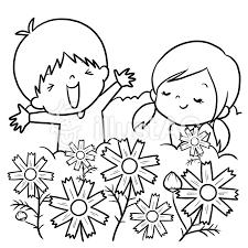 コスモス畑男の子女の子線画塗り絵イラスト No 859200無料イラスト