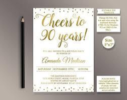 90th Birthday Invite Etsy