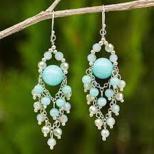 beaded chandelier earrings with blue quartz and glass beads brilliant meteor