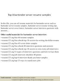 Top 8 Bartender Server Resume Samples