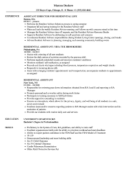 Ra Resume Residential Assistant Resume Samples Velvet Jobs 17