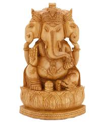 collectible india wooden handmade three face ganesha statue