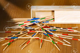 Game With Wooden Sticks Game Of Mikado Or Shanghai With Wooden Sticks And Box On A Wooden 56