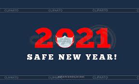 Frohes neues Jahr 2021 mit medizinischer Maske. Übelkeit | Stock  Vektorgrafik | CLIPARTO