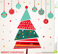 Royalty-Free Stock Photo. Download Retro Christmas Card With Tree And  Ornaments ...