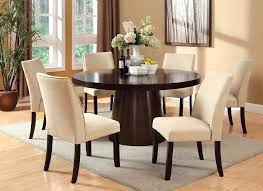 havana espresso finish ivory padded chairs round 7 piece dining table set