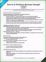 Waitressing Resume Food Server Resume Incomparable Server Waitress Resume